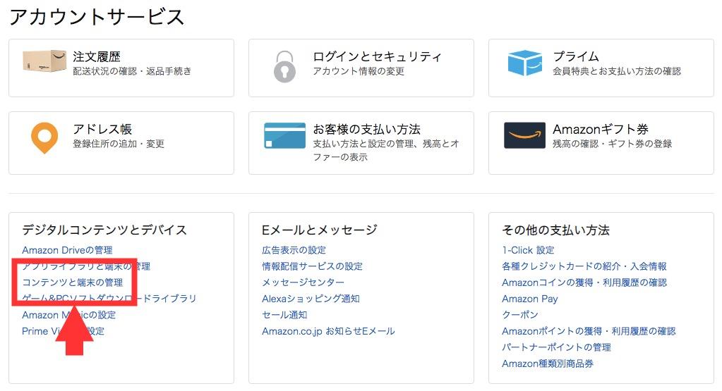 アマゾンアカウント内の「コンテンツと端末の管理」